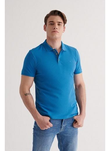 Avva Erkek Polo Yaka Düz T-Shirt A11B1174 Mavi